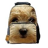 """Kids School Backpack For Boys & Girls 3D Dog Face Print Design Felt Fabric Unisex Laptop Daypacks 16"""" DogE-16"""""""