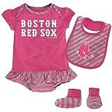 MLB Boston Red Sox Infant Girls Bib & Booty Set, 24 Months, Poster Pink