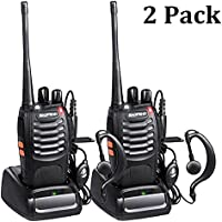 Winshope Two Way Radio Baofeng Radio BF-888S Handheld Walkie Talkies Long Range Rechargeable 2 Way Radio Vhf/UHF 400-470MHz Radios 16 Channels Walkie Talkie With Earpiece Microphone Charger(Pack of 2)