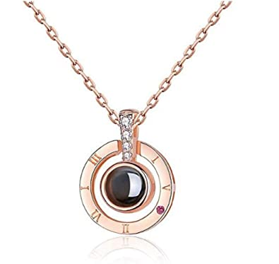QueenDer Women Necklace Clavicle Necklace 100 Languages I Love You Zircon  Pendant Chain