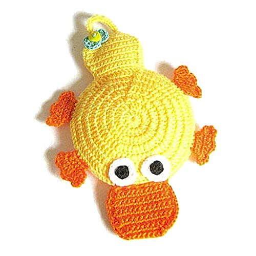 Agarradera amarilla y naranja en forma de pato de ganchillo - Tamaño: 17 cm x 20 cm H - Handmade - ITALY