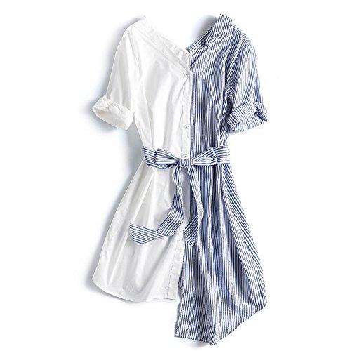 費やす慈悲深いスティックPT シックなデザイン 不規則な ステッチのソリッド カラー ダブル Vカラー タイ シャツドレス