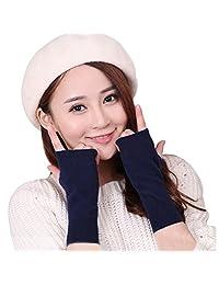LerBen Women's Cashmere Warm Fingerless Gloves Winter Long Arm Warmer