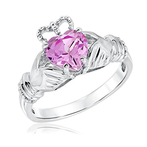 Created Pink Sapphire Claddagh Ring - Size 7