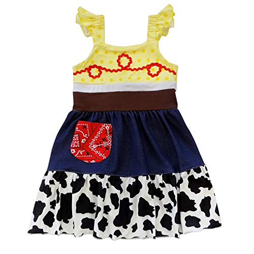 So Sydney Toddler Girl 1-2 Pc Soft Comfy Cotton Stretch Minnie or Princess Dress Costume Outfit (M (4T), Jessie Cowgirl) -