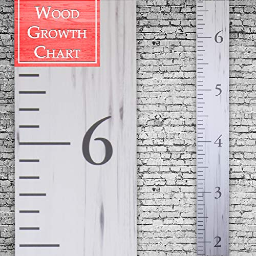 Back40Life | Premium Series - (The Benchmark) Wooden Growth Chart Height Ruler (Weathered White)