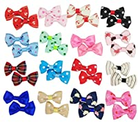 Hixixi 24pcs/12pairs Pet Cat Dog Hair Clips Beautiful Hair Bows Bow Tie Puppy Hair Accessories