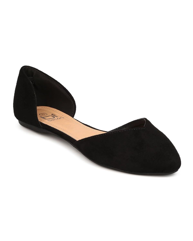 Betani FC81 Women Faux Suede Pointy Toe d'Orsay Ballerina Flat - Black
