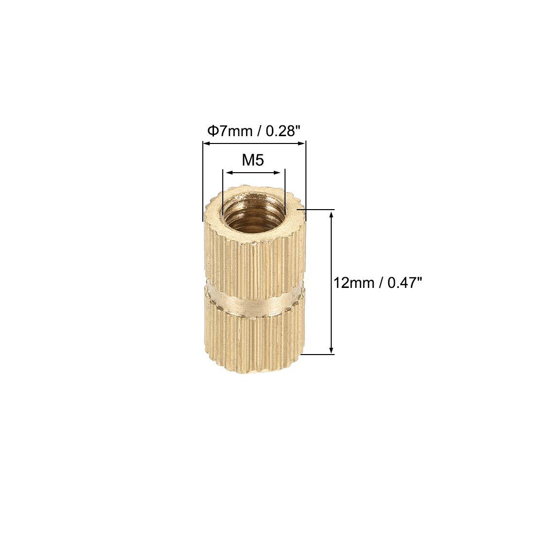 x 6mm sourcing map M4 x 6 mm Tuercas de inserci/ón roscadas y moleteadas de lat/ón 100 pcs L DO
