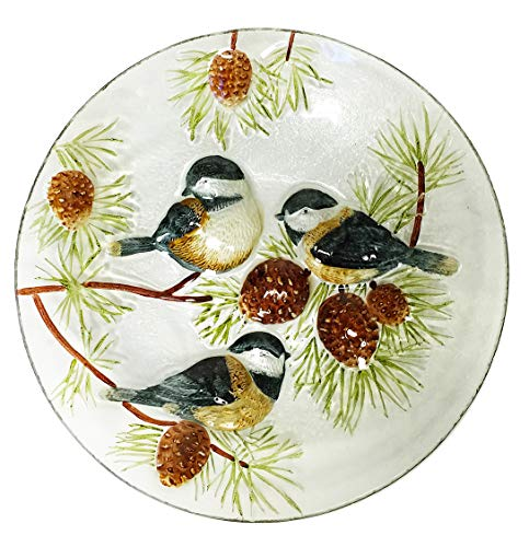 Continental Art CAC3004280 18'' Hand Painted Chickadees and Pinecones Glass Bowl Bird Bath/Feeder, Fountain, Decorative Plate