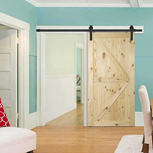 BELLEZE Natural Wood Pine Unfinished (3 Feet x 7 Feet) DIY Pre Drilled Sliding Barn Door Sliding Door Single 42 inches x 84 inches, Arrow