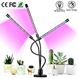 Grow Light for Indoor Plants, ARTSEA 30W LED Grow Lamp Full Spectrum Triple Heads Plant Lights with Auto Timer, 360°Adjustable Arms 5 Dimmable Levels Clip-on Desk Plant Growth Lamps