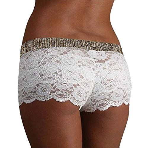 Miureal Women's Lace Boyshort Panties Hipster Hip Hugging Elastic See Thru Panties, White, TagsizeM=USsizeM