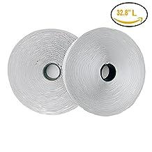 Self Adhesive Hook and Loop Tape Sticky Back Fastening Tape, White 10 meters(32.8 Feet)