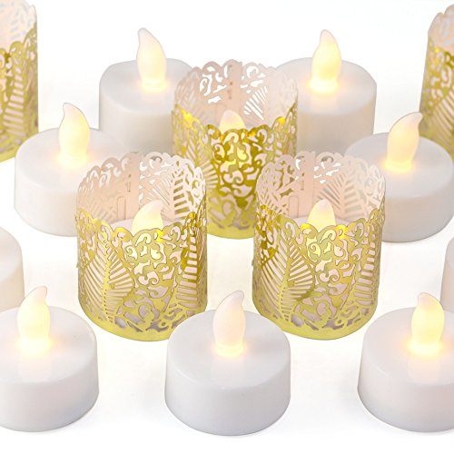 (Frux Home and Yard 24 Flameless Flickering LED Tea Light Battery Operated Candles, Holders and Gold Decorative Votive Wraps)