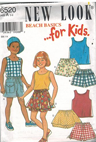 6520 New Look Sewing Pattern Uncut Girls Top Shorts Skort Size 3 4 5 6 7 8