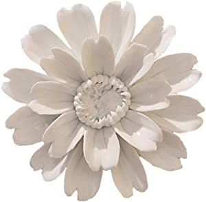 ALYCASO Sunflower Ceramic Flower Wall Décor Artificial 3D Flower Wall Art for Living Room Home Hallway Bedroom Kitchen Farmhouse Bathroom Dining Room, White, 4.72 inch