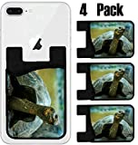 MSD Phone Card holder, sleeve/wallet for iPhone Samsung Android and all smartphones with removable microfiber screen cleaner Silicone card Caddy(4 Pack) IMAGE ID 35483301 galapagos turtle in san crist