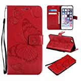 Amocase Wallet Leather Case with 2 in 1 Stylus for iPhone 6 Plus,Premium Strap 3D Butterfly Magnetic PU Leather Stand Shockproof Card Slot Case for iPhone 6 Plus/6S Plus - Red