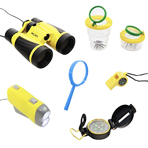 Adventure Set for Kids 8 PCS - Children Binoculars, Bug Collector, Flashlight, Compass, Magnifying Glass, Exploration Toy Kit for Camping, Hiking, Outside Nature Play