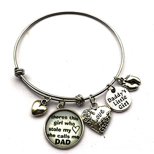 Theres This Girl Who Stole My Heart She Calls Me Dad, Daddy's Little Girl Bracelet for Father Or Daughter