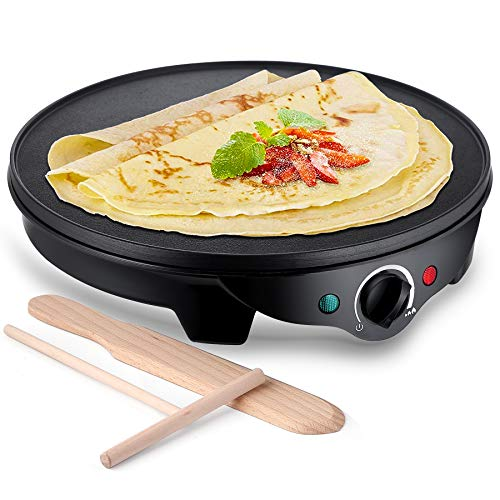 JYDMIX Crepe Maker Machine Nonstick 12 1300W Electric Pancake Maker – Batter Spreader, Wooden Spatula for Roti, Blintzes, Eggs, Dosa, Lefse – Temperature Control, Portable, Easy Clean