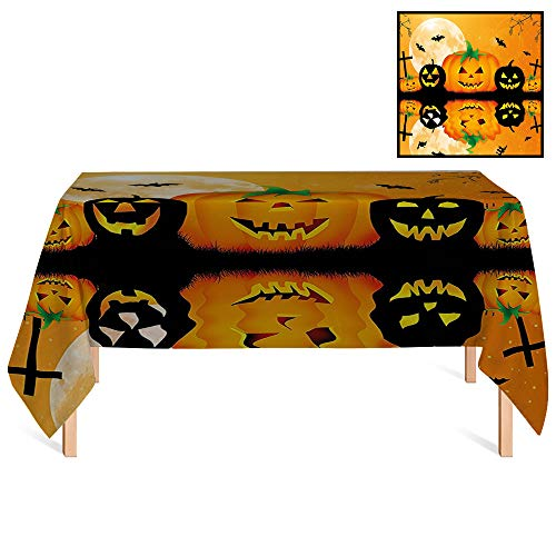 SATVSHOP Decorative Table Top Cover /60x84 Rectangular,Halloween rations Spooky Carved Halloween Pumpkin Full Moon with Bats and Grave by Lake Orange Black.for Wedding/Banquet/Restaurant. -