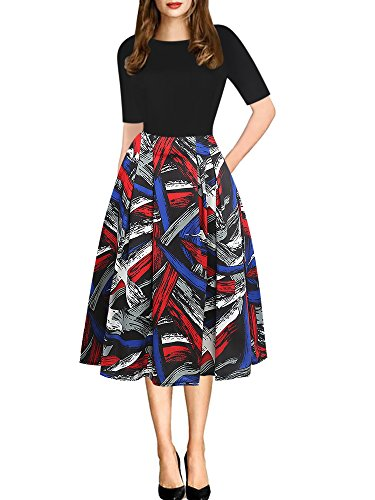 - oxiuly Women's Vintage Patchwork Pockets Puffy Swing Casual Party Dress OX165 (L, Multi Stripe)