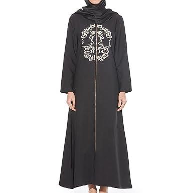 11689eb24d Zhuhaixmy Embroidered Zipper Ethnic Robe Saudi Arabia Long Sleeve Muslim  Fashion Maxi Dress Islamic Hindu Jewish Kaftan Abaya Women Girls Wear for  Ramadan  ...