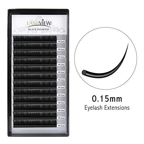 d0239af685b LASHVIEW 0.15 Thickness Eyelash Extensions Premium D Curl 12mm Soft  Application-friendly Eyelash Extension Individual