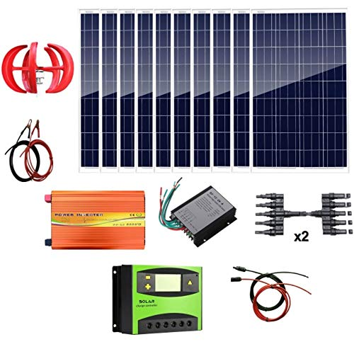 AUECOOR 1.4Kw Wind Solar Power: 400W Wind Turbine Generator & 10pcs 100W Poly Solar Panels & 3000W 24V Off Grid Inverter & Cable Connector Home Boat RV ()