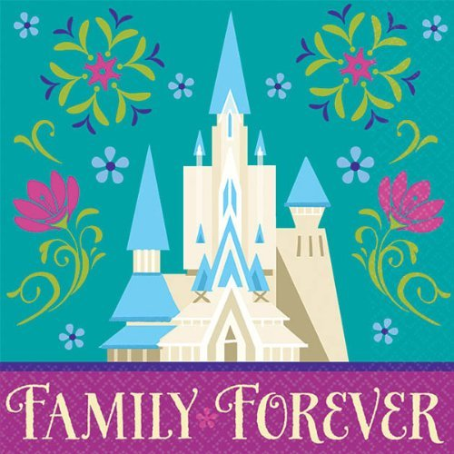 Disney Frozen Beverage Napkins Birthday Party Tableware Supply (16 Pack), Teal/Violet, 5