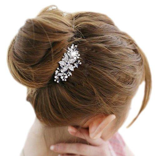 EVER FAITH® Cristal Autrichien Mariage Fleur Perle Artificielle Peigne Ton d'Argent- Bleu N00419-2