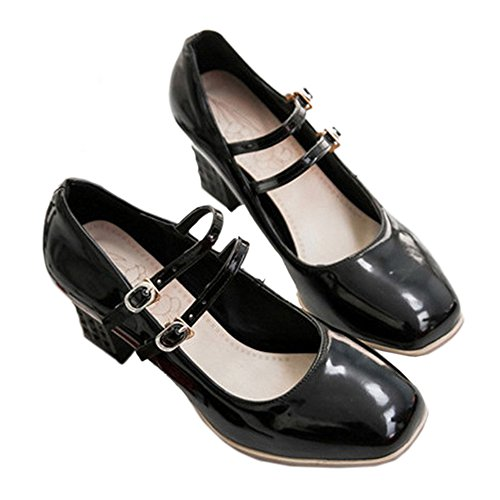 Buckle Size Plus Double black Women Heel High Shoes 39 qpwUTA44