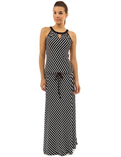 (PattyBoutik Women Striped Keyhole Drawstring Maxi Dress (Black and White Medium))