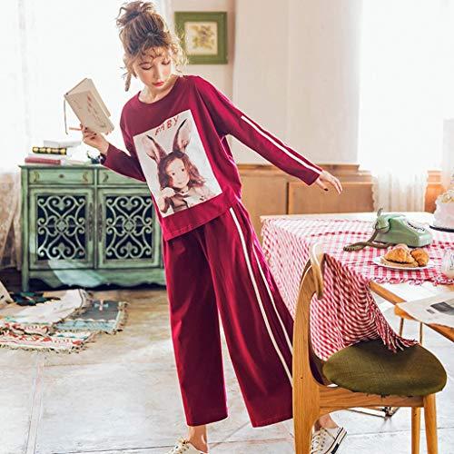 pigiama maniche cotone allentati di pigiami Red e large Size a servizio Pigiama rosso lunghe in signore casa Red L comfort Color primavera extra suit autunno larghi pantaloni a casuali casa PqZw0O