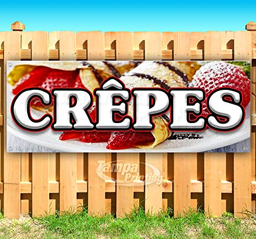 Crepes 13 oz Heavy Duty Vinyl Banner Sign with Metal Grommets, New, Store, Advertising, Flag, (Many Sizes Available)