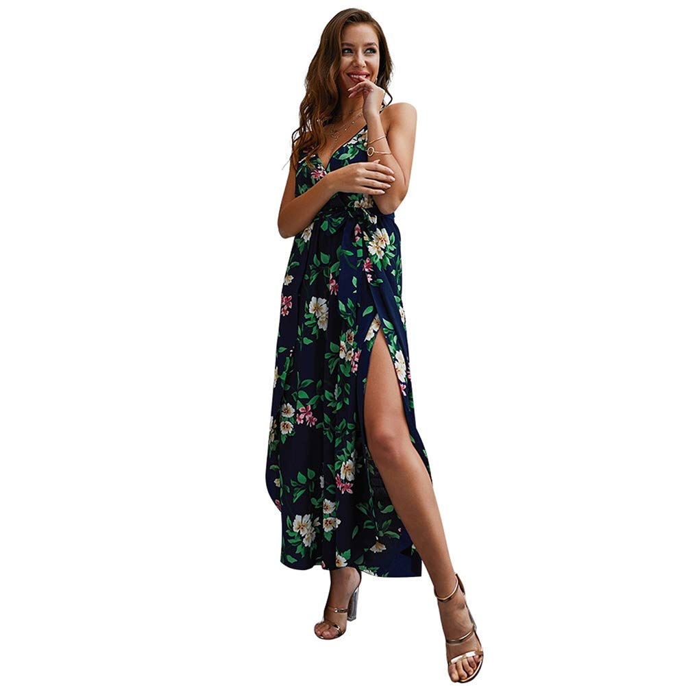 Desirepath Women Jumpsuits and Rompers Sexy Floral Printed V Neck Spaghetti Strap Spilt Wide Leg Pants Blue