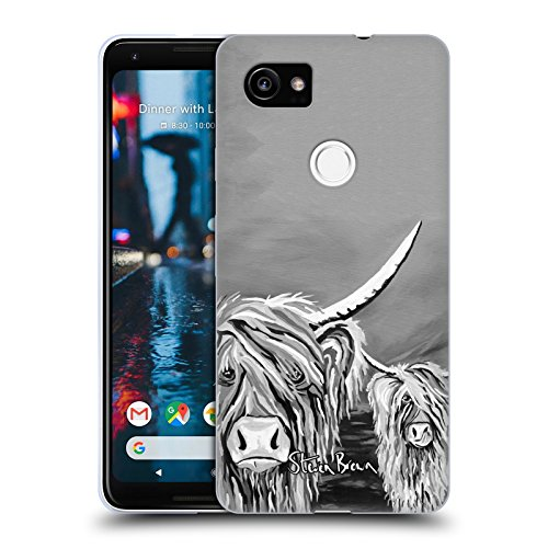 Official Steven Brown Rab & Isa Mccoo The Noo Highland Cow Black & White Soft Gel Case for Google Pixel 2 - Isa Google