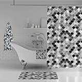 iPrint Bathroom 4 Piece Set Shower Curtain Floor mat Bath Towel 3D Print,Inspirations Animal Skin Scales Pattern Monochrome,Fashion Personality Customization adds Color to Your Bathroom.