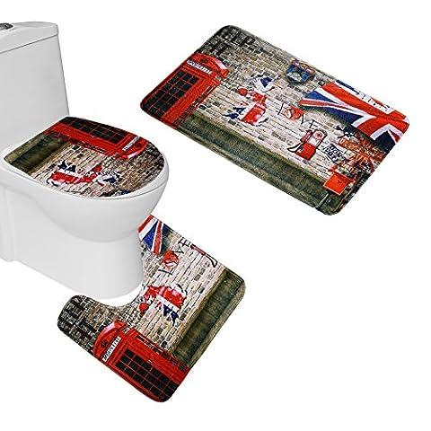 Amagical UK London Red Telephone Pattern Toilet Cover Set 3 Piece Bathroom Mat Rug Lid Toilet Cover (Men Bathroom Rug Set)