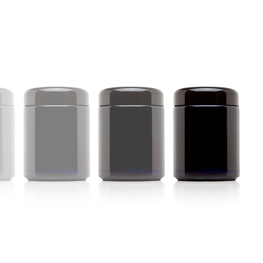 Infinity Jars 250 ml (8.5 fl oz) Tall Black Ultraviolet Refillable Empty Glass Screw Top Jar 10-Pack
