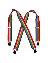 Welch Men's Elastic Ombre Stripe Clip End Suspenders, Rainbow Stripes