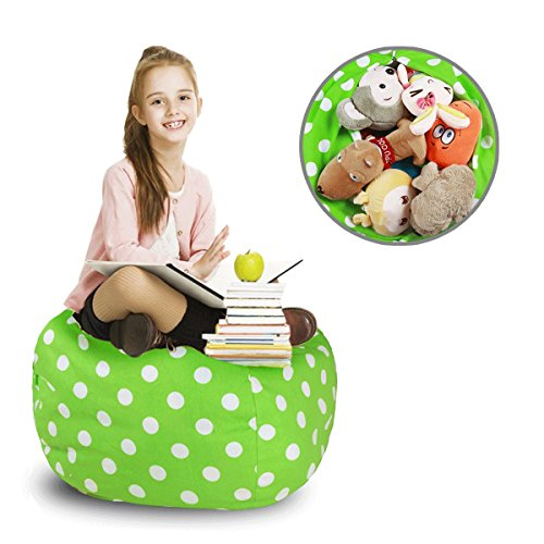Kids Animal Bag-Stuffed Animal Storage Bean Bag Chair-100% cotton canvas storage bag Perfect Storage Solution for Toys, Clothes,Covers or Blankets(28' ,Green/white spot )