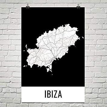 Spanien Karte Schwarz Weiß.Moderne Karte Kunst Ibiza Poster Ibiza Kunstdruck Ibiza Wandkunst