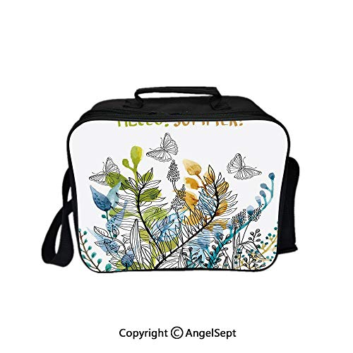 Reusable Lunch Bag With Adjustable Shoulder Strap,Hello Summer with Watercolor Fern Branch Butterfly Harvest Season Paint Decorative Amber Olive Green Blue 8.3inch,Office Work Picnic Hiking Beach Lun