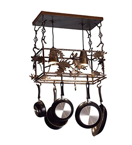 Leaf Lighted Pot Rack - Leaf and Acorn Pot Rack