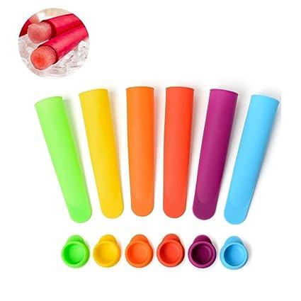 Leegoal Juego de moldes de silicona para paletas de hielo (6 unidades, con tapas