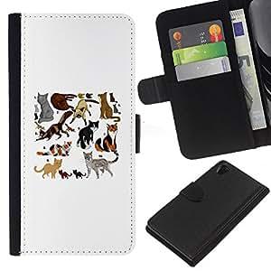 Cat Pattern White Drawing Breed - la tarjeta de Crédito Slots PU Funda de cuero Monedero caso cubierta de piel Sony Xperia Z2 D6502