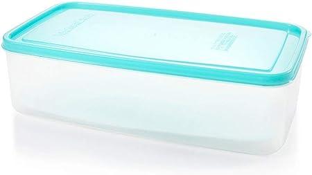 Caja de almacenamiento de plástico para frigorífico de cocina, con tapa de drenaje, rectangular, caja sellada grande, fruta Crisper, 26 x 14,5 x 7,5 cm azul: Amazon.es: Hogar